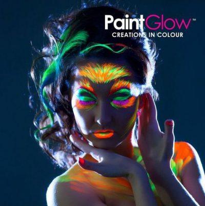 Paintglow maquillaje facial, corporal, pelo luminiscente y neón con luz uv