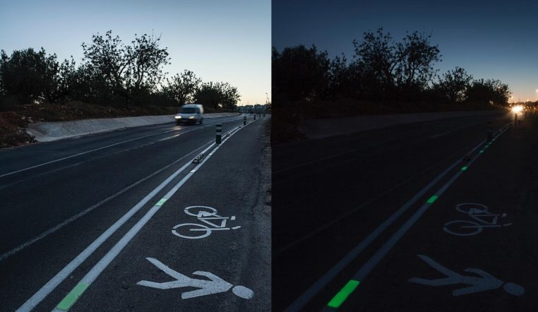 Carril bici y peatones luminiscente con NIghtWay en Valencia