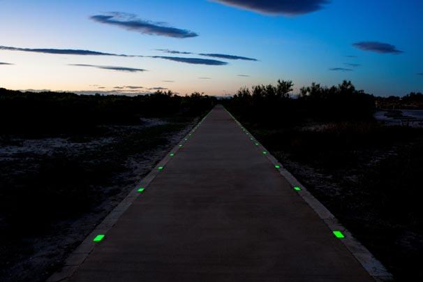 Carretera rural iluminada por losetas luminiscentes NightWay