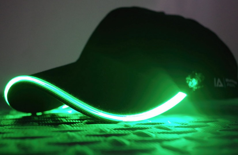 Gorra unisex ajustable con led verde