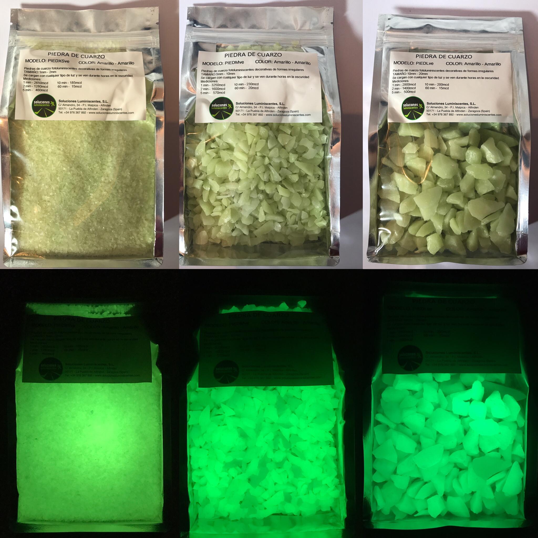 Áridos de cuarzo fotoluminiscentes brillo verde en la oscuridad