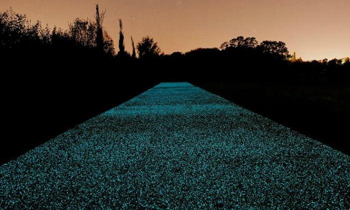 Camino realizado con piedras luminiscentes