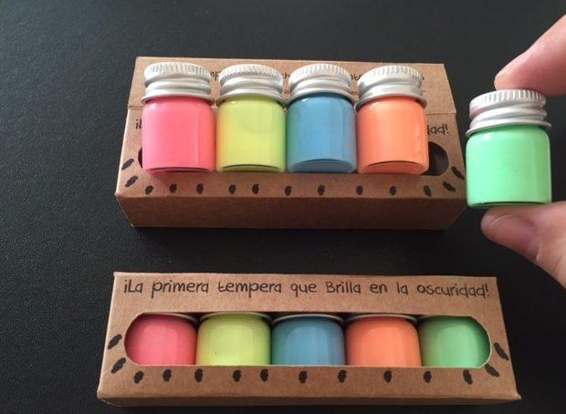 Pack de témperas luminiscentes para niños Mini Twinkle en formato pequeño