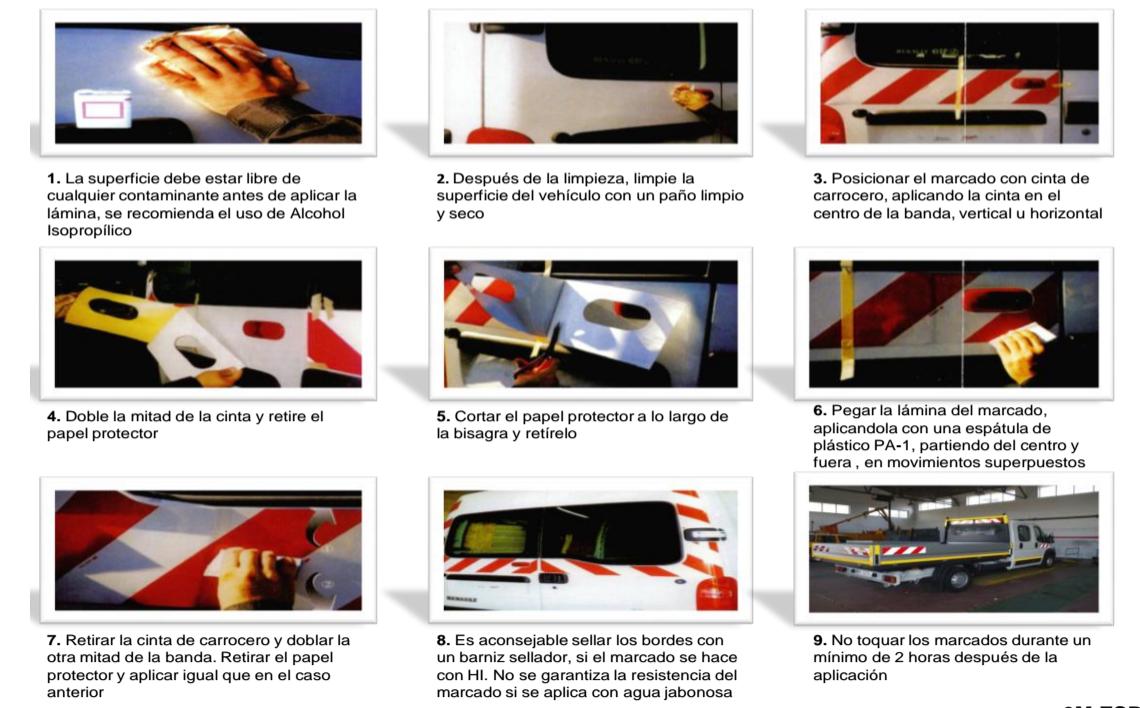 Forma de aplicación del vinilo reflectante 3M